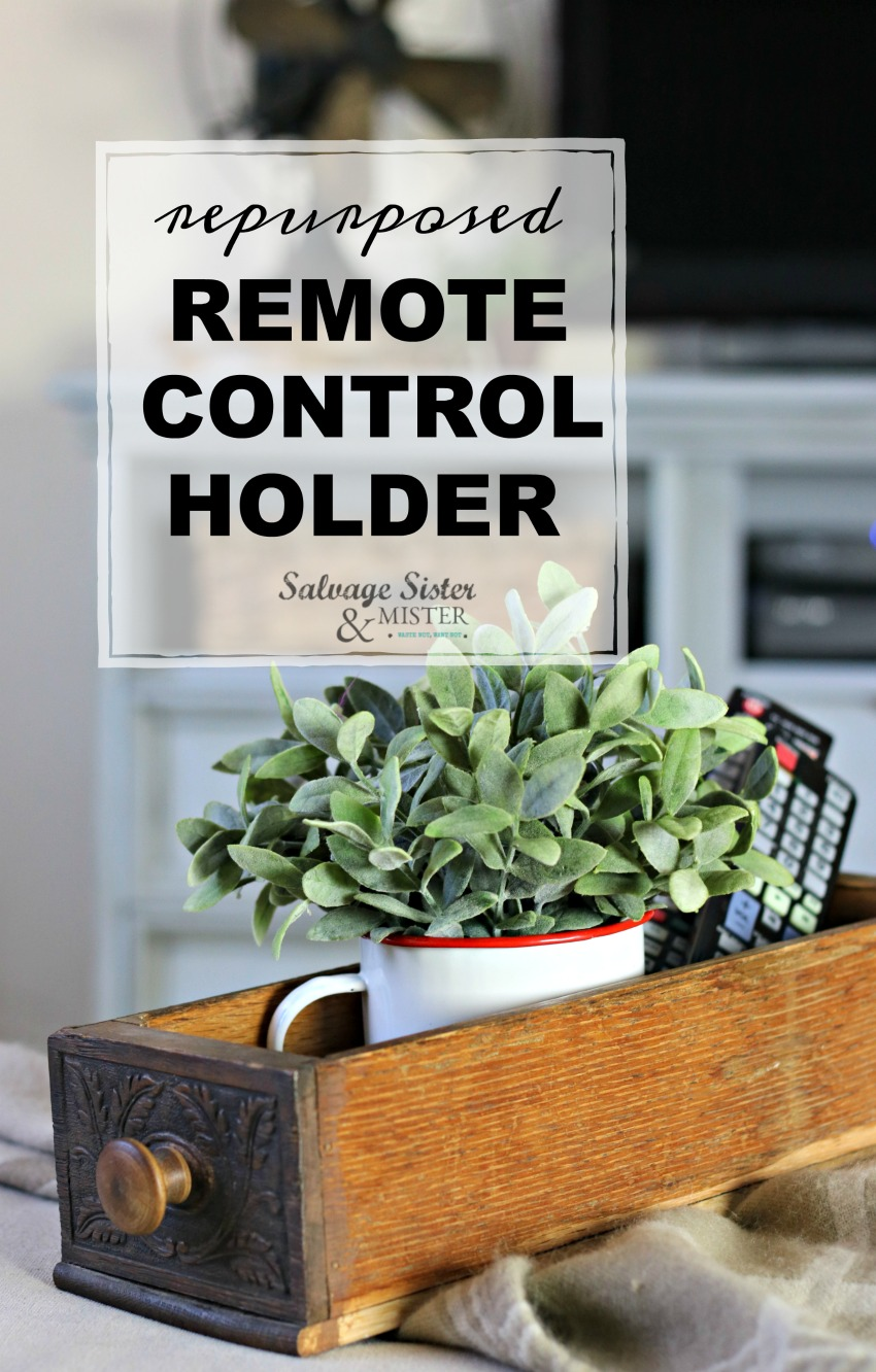 repurposed remote control holder - organizer using a vintage sewing drawer on salvagesisterandmister.com