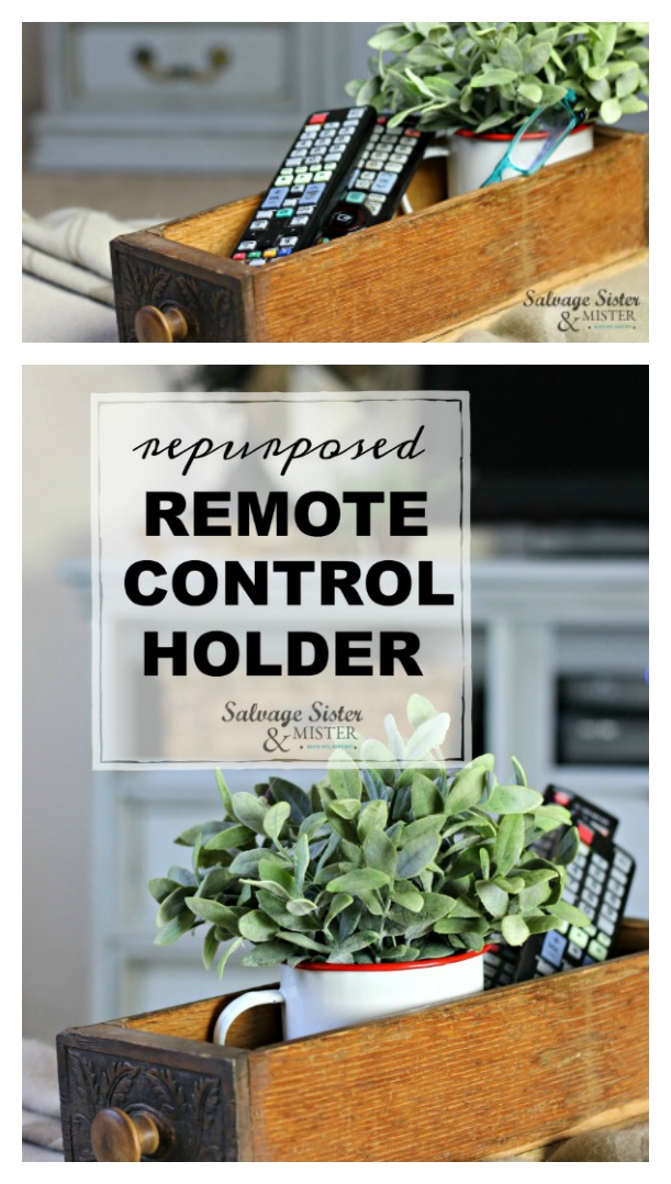 Turnign an old sewing drawer into a repurposed remote control holder - organizer.  Vintage home decor - thrifted style - flea market flip