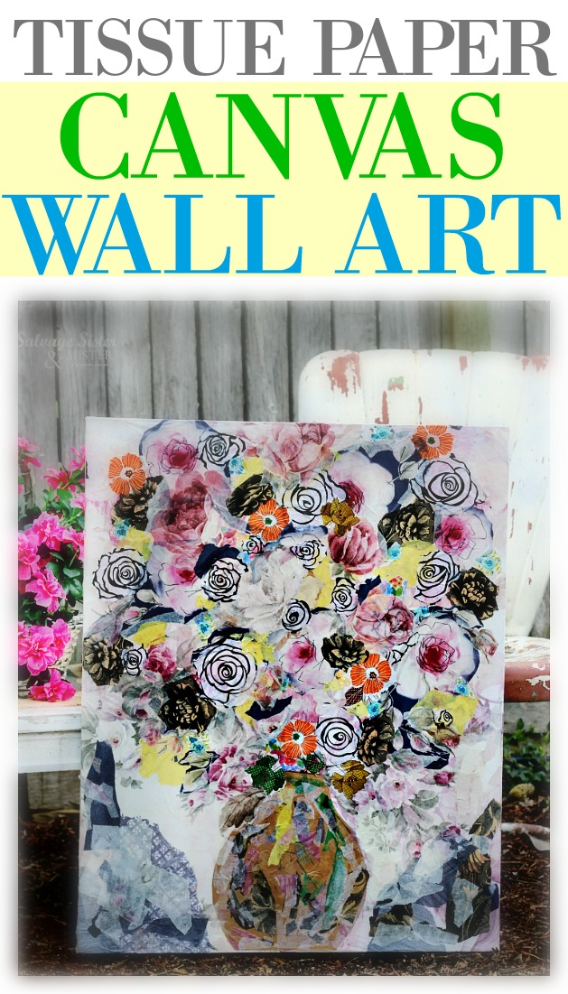 Reusing old tissue paper to make a home decor item. This tissue paper wall art craft is a great way to reprupose or upcycle old items to make something new. A beautiful floral wall piece #reuse #craft #wallart