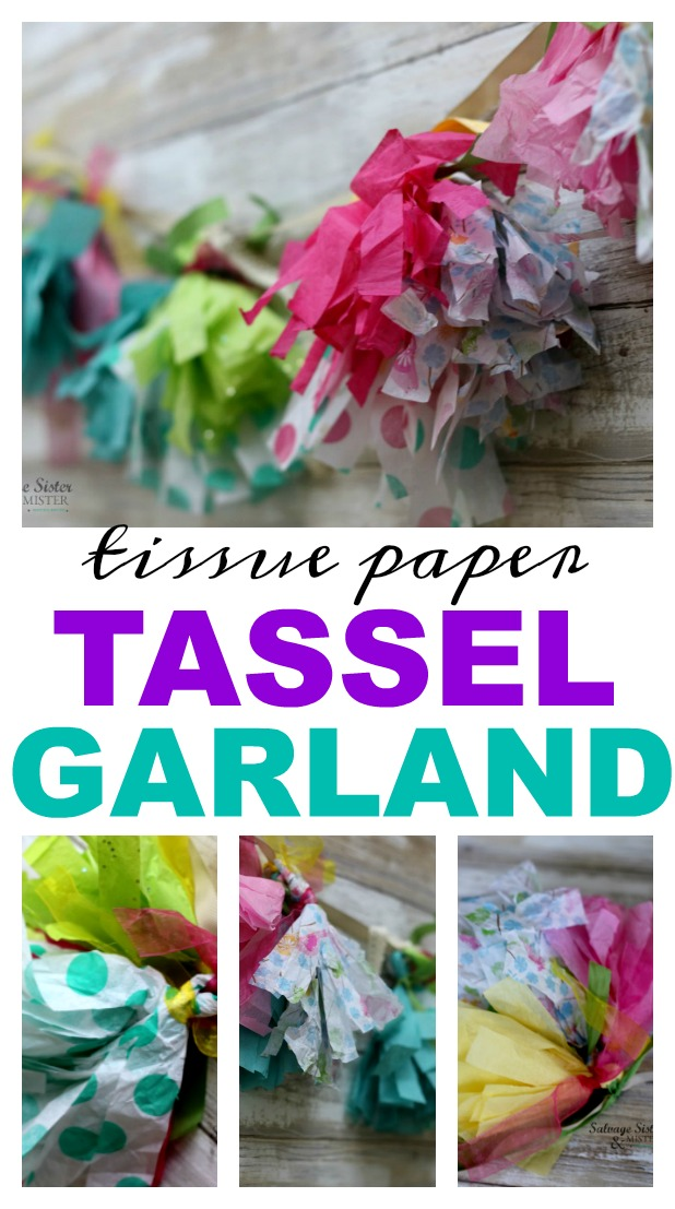 What to do with leftover tissue paper? Why not use it for decorations for your next party? Create this tissue paper tassel garland using what you already have. Fun for any event - kids parties, showers, holidays, weddings, etc. Perfect reuse - repurose- upcycle so we can waste less and do more. #reuse #repurpose #partydecor found on salvagesisterandmister.com