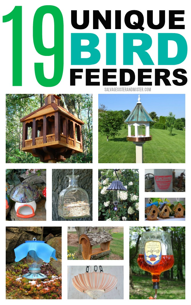 19 UNIQUE BIRD FEEDERS. From upcycled - repurposed to uniquely made items here are bird feeders that will make your garden a fun place for you and the birds. #birdfeeders #upcycled #garden