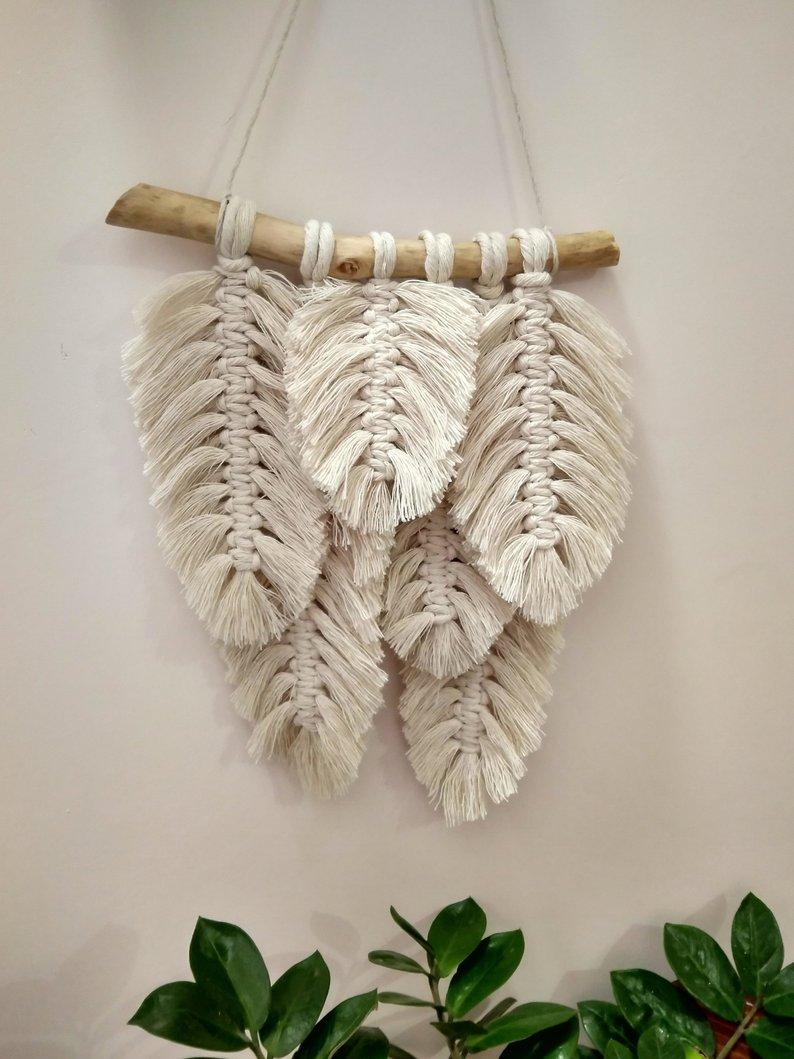 boho feather macrame wall wanging - banner - affiliate link