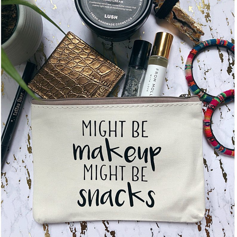 might be makeup might be snacks makeup bag canvas - unique mother's day gifts - affiliate link