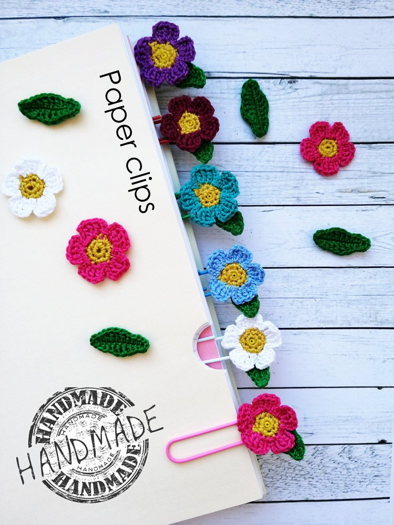 planner decorations - crochet flower paper clips - unique mother's day gift ideas for every price point - affiliate link