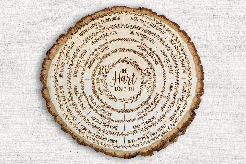 personalized family tree wood slice affiliate link