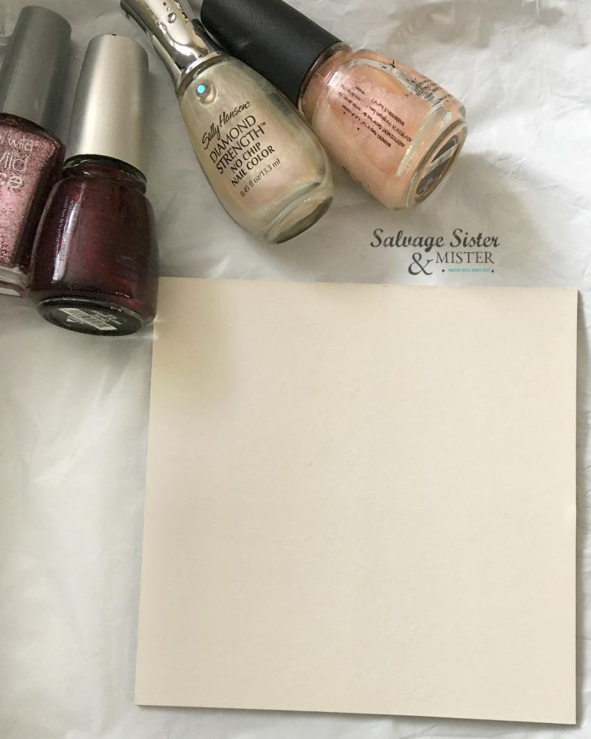 Using old nail polish to create nail polish pour art on salvagesisterandmister.com