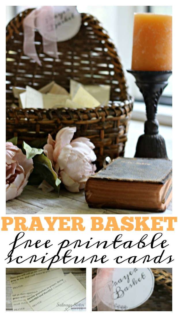 Prayer basket wiht free printable scripture prayer cards to keep track of prayer requests. Use with the family or on your own - prayer time / devotion time. This is an easy way to turn alone time with God into a dedicated time with different types of prayers. salvagesisterandmister.com