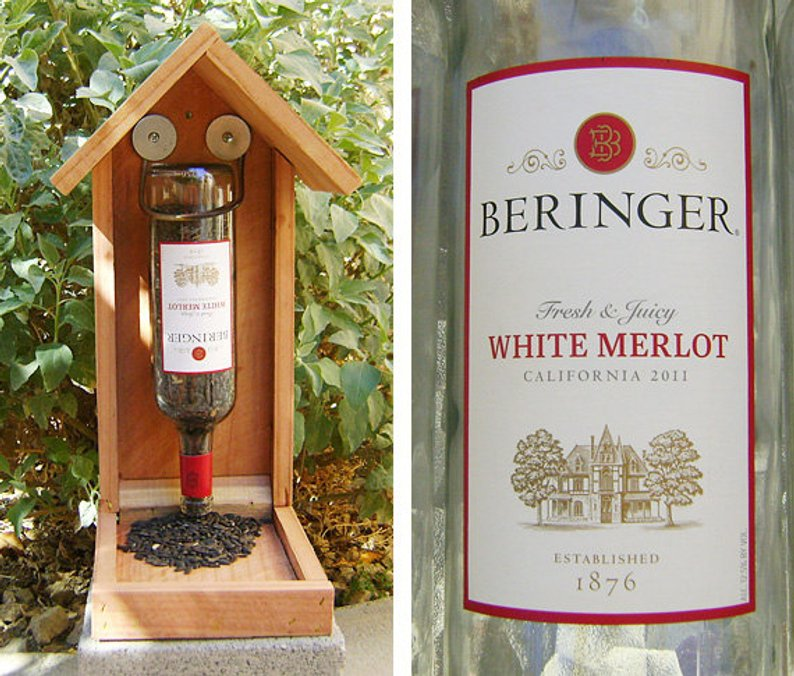 recycle wine bottle bird feeder - affiliate link
