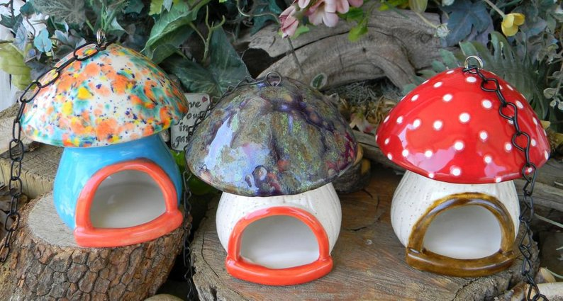 ceramic toadstool bird feeder affiliate link