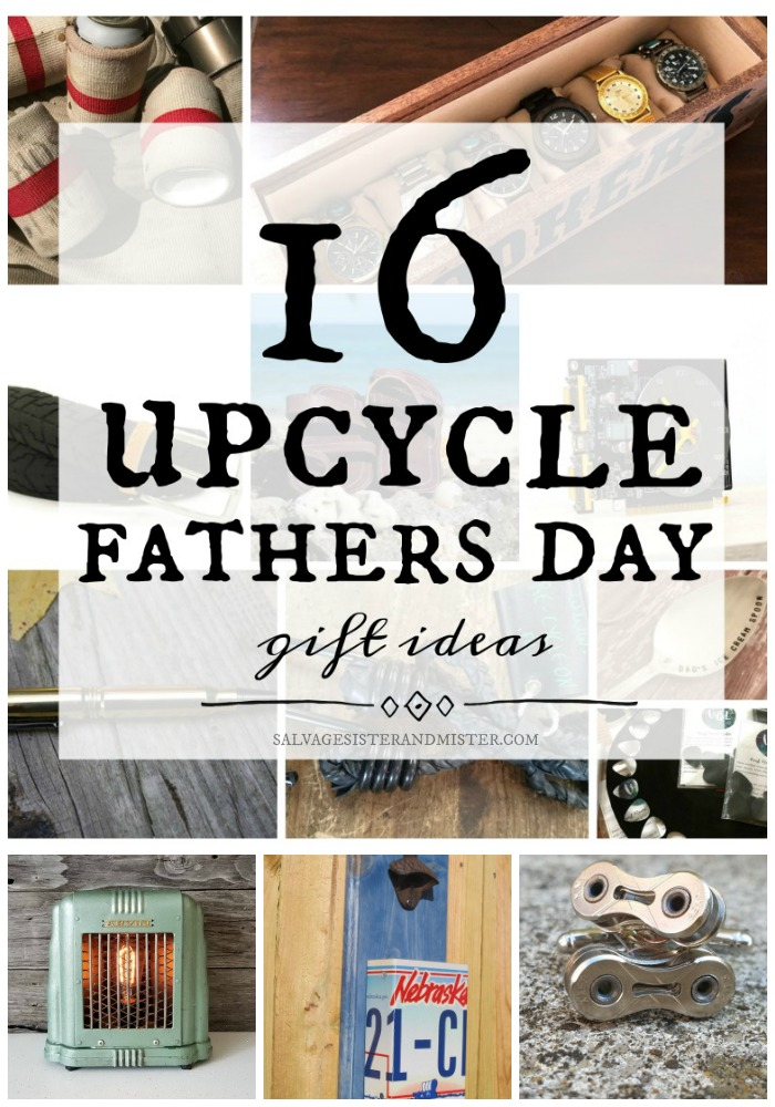 Looking for a unique gift for Dad? Here are 16 unpcycle gift ideas that are of various price points plus reuse items and give them new life.  Support small and waste less in the process of your gift giving.  Can coolers, cuff links, guitar picks, bullet pens, watch box, upcycled drinking glasses, and more.  Gift guide will inspire you to think outside the tie. #dad #fathersday #giftideas