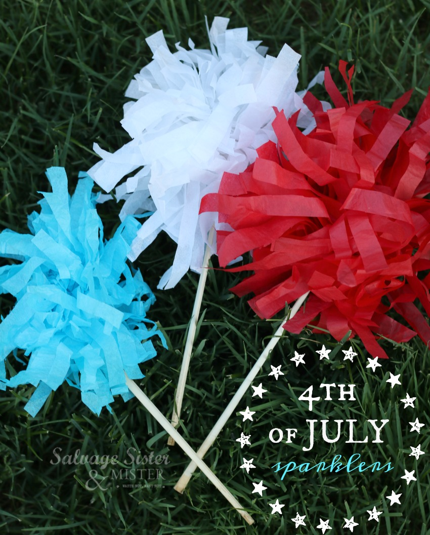 Creating 4th of July sparklers from leftover tissue paper.  Find this craft tutorial on salvagesisterandmister.com