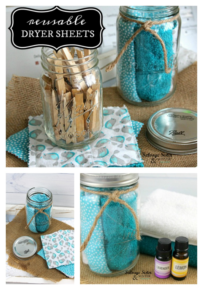 How to make your own scented dryer sheets in a non toxic way .  A great way to use fabric scraps and save money- budget friendly.  Easy beginning sewing project too. Find instructions on how to make your own on salvagesisterandmister.com