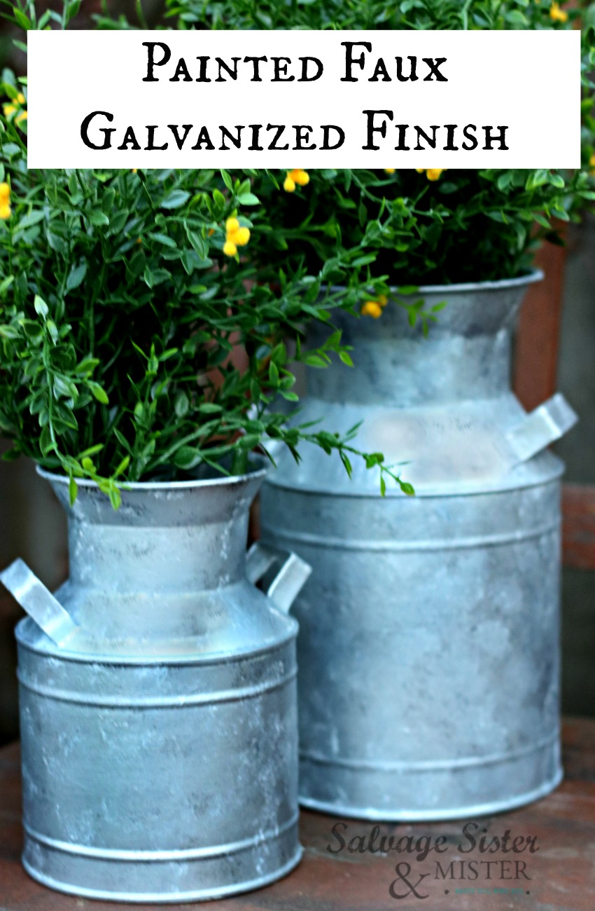 Did you know you can create a Painted Faux Galvanized Finish?  Perfect way to make a thrift store transformation to reuse old items and to create that farmhouse look on a budget.  Find the tutorial for this diy project on salvagesisterandmister.com #thriftsore #farmhouse #diyproject
