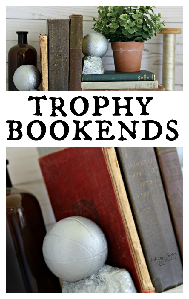 DIY trophy bookends from thrift store items. Turning discarded trophies into something new and fun. Use these bookends in the office or as a display. Budget friendly home decor. Thrifty style team sharing their thrifty ideas and projects #thrift #repurpose #budgetfriendly