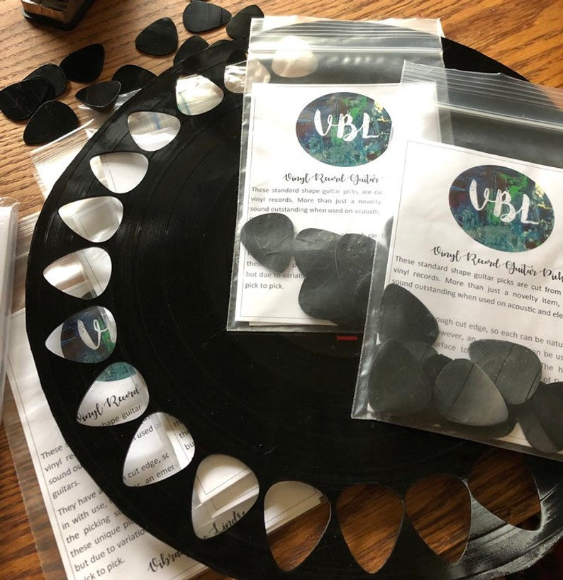 guitar picks made from old recordes - affiliate link