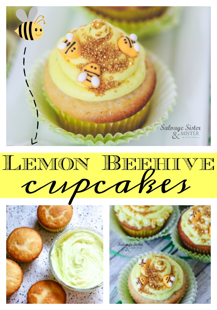 Do you love bees?  They are so important to our food supply and so much more.  Here is a fun cupcake in honor of these amazing and important little creatures.  Lemon beehive cupcakes are fun for a gender reveal, baby shower, birthday party, kids party, everyday occasions and National Honey Bee day.  Get the full recipe on salvagesisterandmister.com