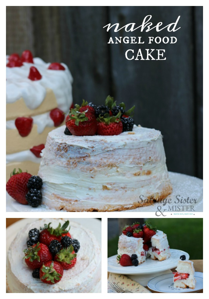 """With a store-bought angel food cake you can make this EASY strawberry and cream """"naked"""" angel food cake for your celebration or party. Quick and simple to do in minutes. Recipe and instructions on salvagesisterandmister.com #easyrecipe #easydesserts"""