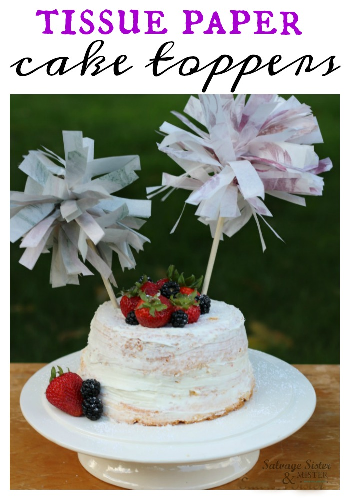 Fun party decoration - tissue paper cake toppers are great for budget friendly party decorations but also for repurposing or reusing tissue paper leftover from another event.  Fun upcycle craft that can be made quickly.  Find the tutorial for these, and what else you can do with them, on salvagesisterandmister.com