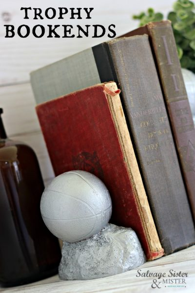 turning thrift store trophies into bookends on salvagesisterandmister.com