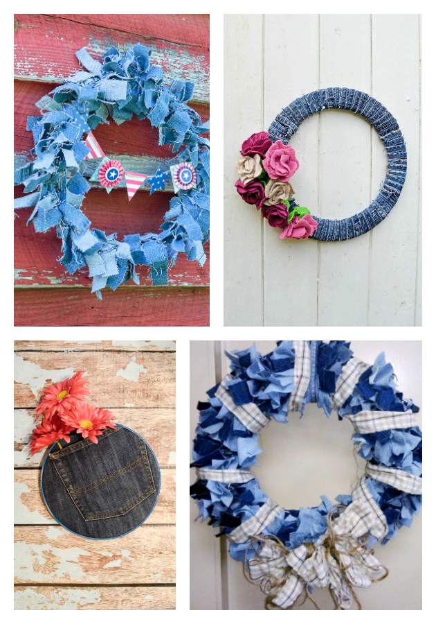 21 of the Best Upcycled Denim Ideas demin wreaths on salvagesisterandmister.com