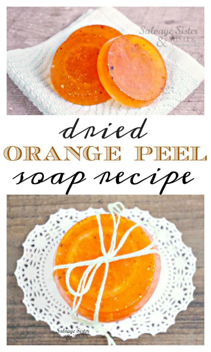 DIy - Craft : Dried orange peel soap recipe is a great way to use up orange peels. Orange is a great scent to brighten or start anyones day. Create this soap with this full tutorial. Fun present to gift anytime of the year. #diy #craft #soap #reuse
