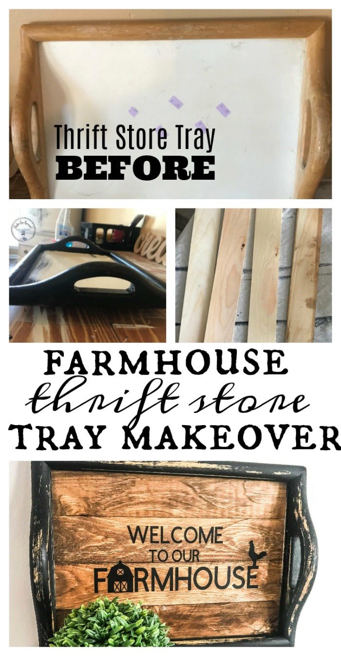 Turning a thrift store tray into a gorgeous farmhouse home decor piece.  This is fixer upper style and is budget friendly.  Get this full DIY project and instructions on salvagesisterandmister.com #farmhouse #thriftstore #beforeafter
