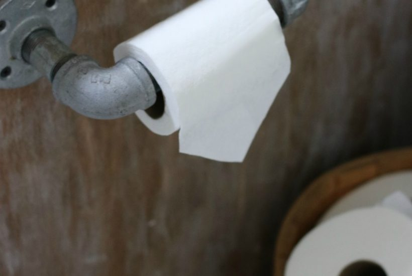 Industrial farmhouse toilet paper roll holder project on salvagesisterandmister.com