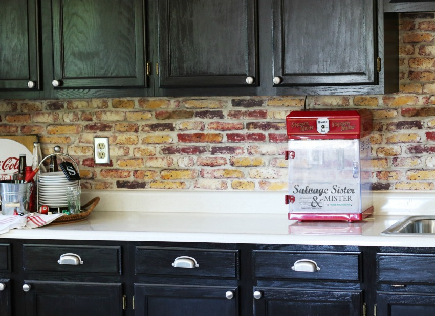 budget friendly Using removable peel and stick brick backspalsh and giving our review of it on salvagesisterandmister.com