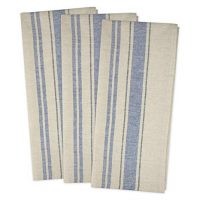 """DII Cotton Oversized French Stripe Dish Towels, 20 x 30"""" Set of 3, Monogrammable Country Farmhouse Flour Sack Tea Towels-Nautical Blue"""