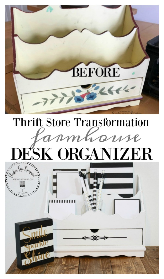 You are going to love this thrifted transformation. Taking a dated mail organizer and turning it into a farmhouse desk organizer to make it fresh and bright and new again. Waste not, want not. Find the tutorial for this fixer upper style (magnolia market) item on salvagesisterandmister.com
