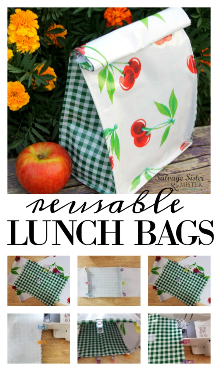 DIY sewing project - Make your own oilcloth reusable lunch bags with this step by step tutorial. Great for back to school, for the office, or just a picnic. These clean up easily and create less waste. Reduce, reuse, recycle - find this craft on salvagesisterandmister.com