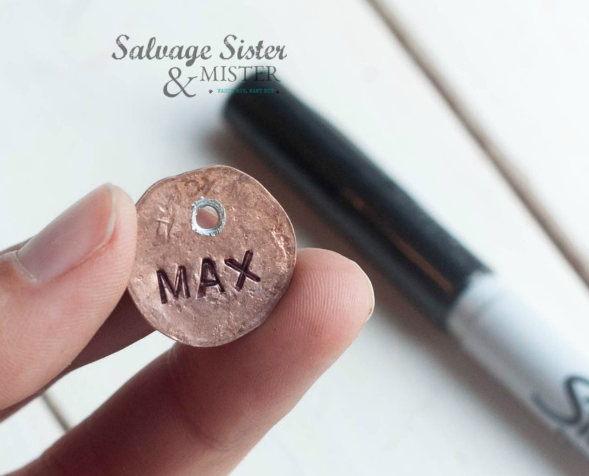 creating a penny charm on salvagesisterandmister.com