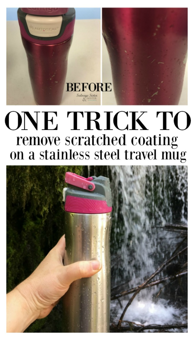 Here's the one trick you need to remove scratched coating from a stainless steel travel mug/  Waste not, want not.  Don't donate it, but repair it quick and easy and make it look new again.  Tutorial on salvagesisterandmister.com