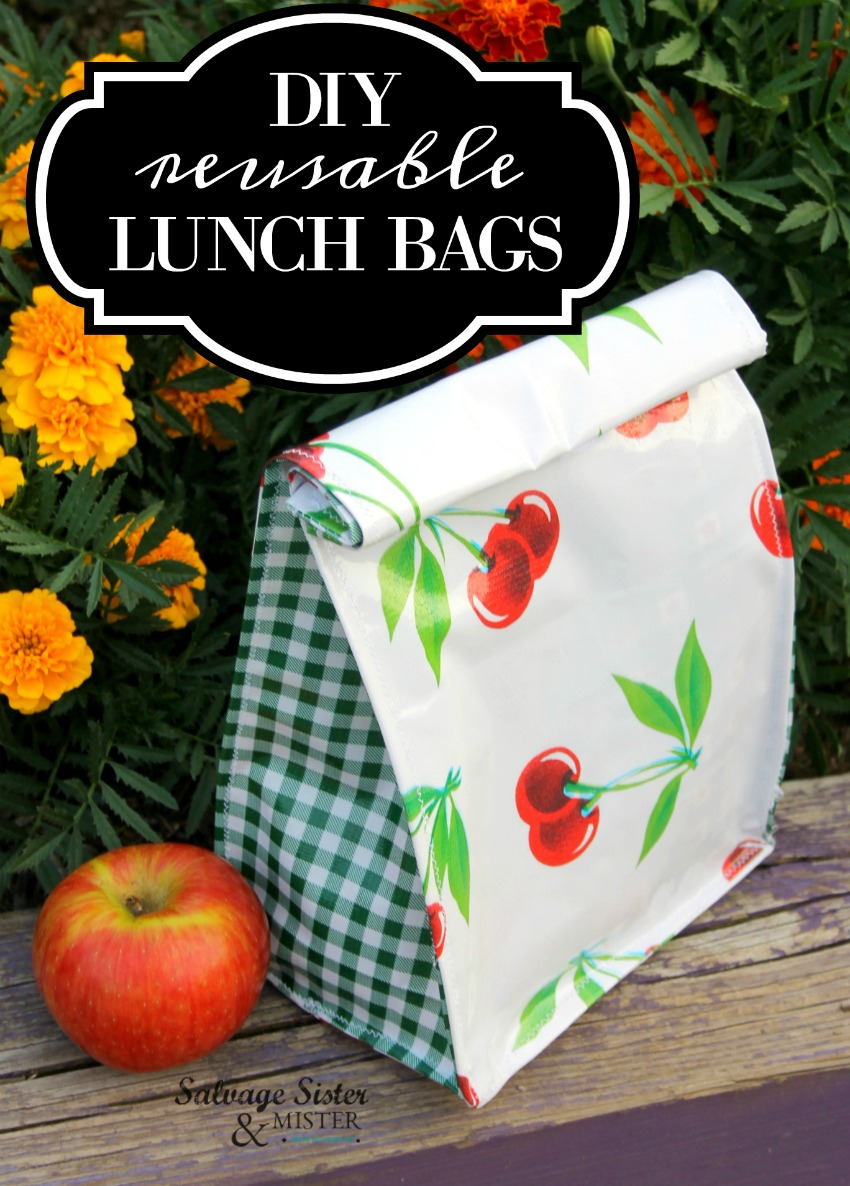 sewing project - diy oilcloth reusable lunch bags on salvagesisterandmister.com