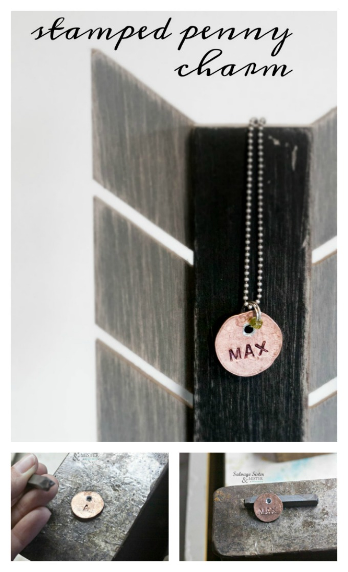 Upcycling a coin into a stamped penny charm. This craft is great to make for a necklace, bracelet, key chain, or even a dog collar. Ruuse, repurpose, or upcycle craft to make. Also, fun for a Father's Day or Mother's Day gift as well. Find full diy tutorial on salvagesisterandmister.com