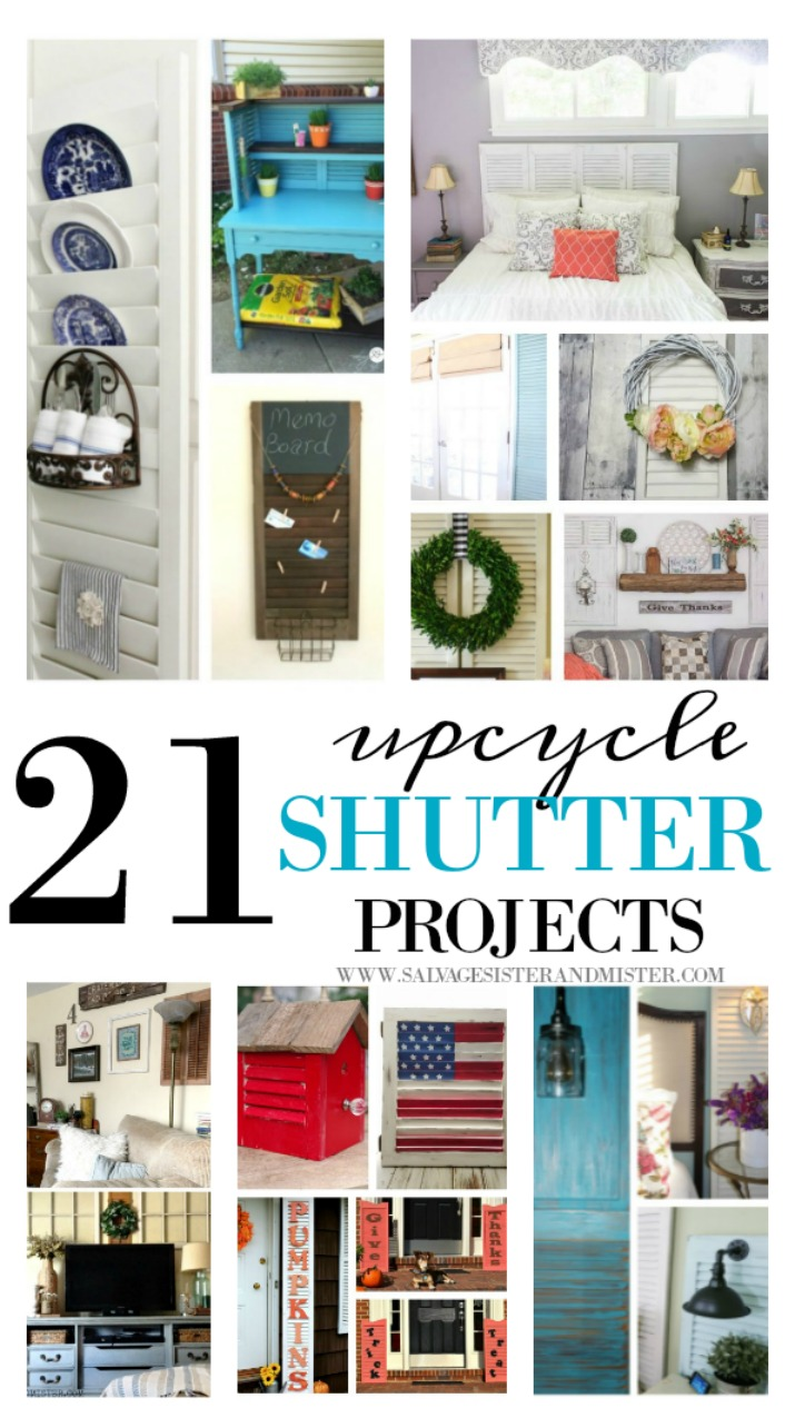 Wood shutters are usually easy to find at thrift stores, yard sales, flea markets, or any typical junkin spot.  Here are 21 upcycle shutter projects to get you inspired to use these sometimes discarded items into something new.  Great for budget friendly home decor (cheap).  Use in the kitchen, bedroom, office, or outdoor decor.  So many repurpose ideas.  Great way to waste not, want not and reuse these into fun crafts.  Find this list on salvagesisterandmister.com