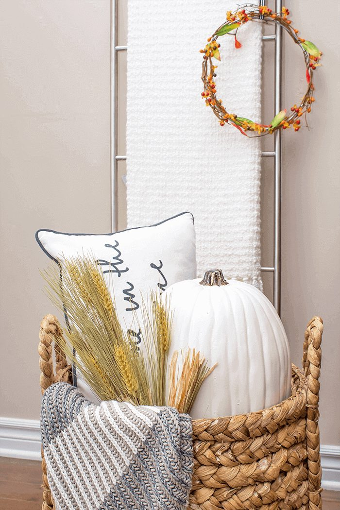 fall wheat decor basket