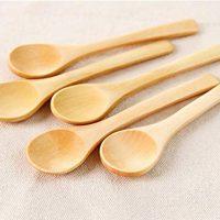 Bezall 5 Pcs Handmade Small Wooden Spoon Honey Teaspoon Seasoning Coffee Tea Sugar Salt Jam Mustard Ice Cream Spoons