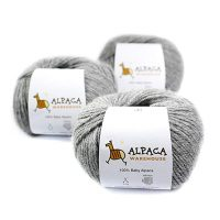 100% Baby Alpaca Yarn Wool Set of 3 Skeins Worsted Weight (Soft Gray)