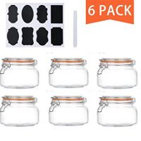 Encheng 16 oz Glass Jars With Airtight Lids And Leak Proof Rubber Gasket,Wide Mouth Mason Jars With Hinged Lids For Kitchen,Glass Storage Containers 6 Pack