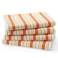 Cotton Craft - 4 Pack - Basket Weave Kitchen Towels - Coral - 100% Cotton - Oversized 20x30 - Modern Clean Striped Pattern - Convenient Hanging Loop