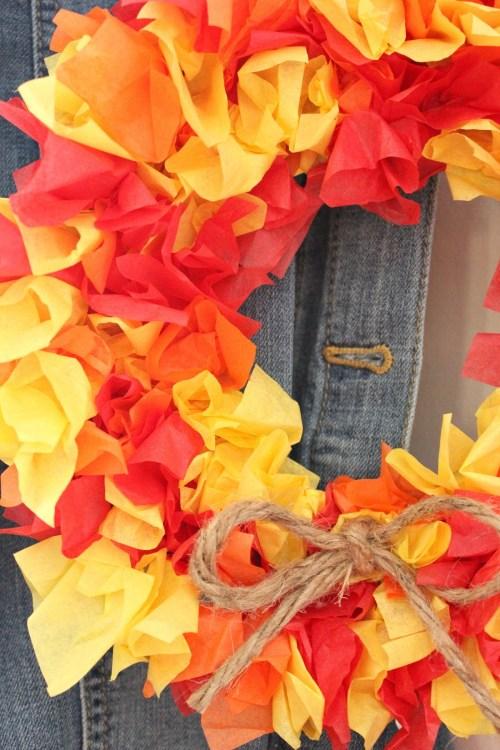 diy fall tissue paper wreath