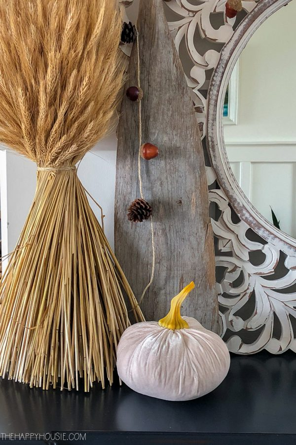 simple fall decor with wheat
