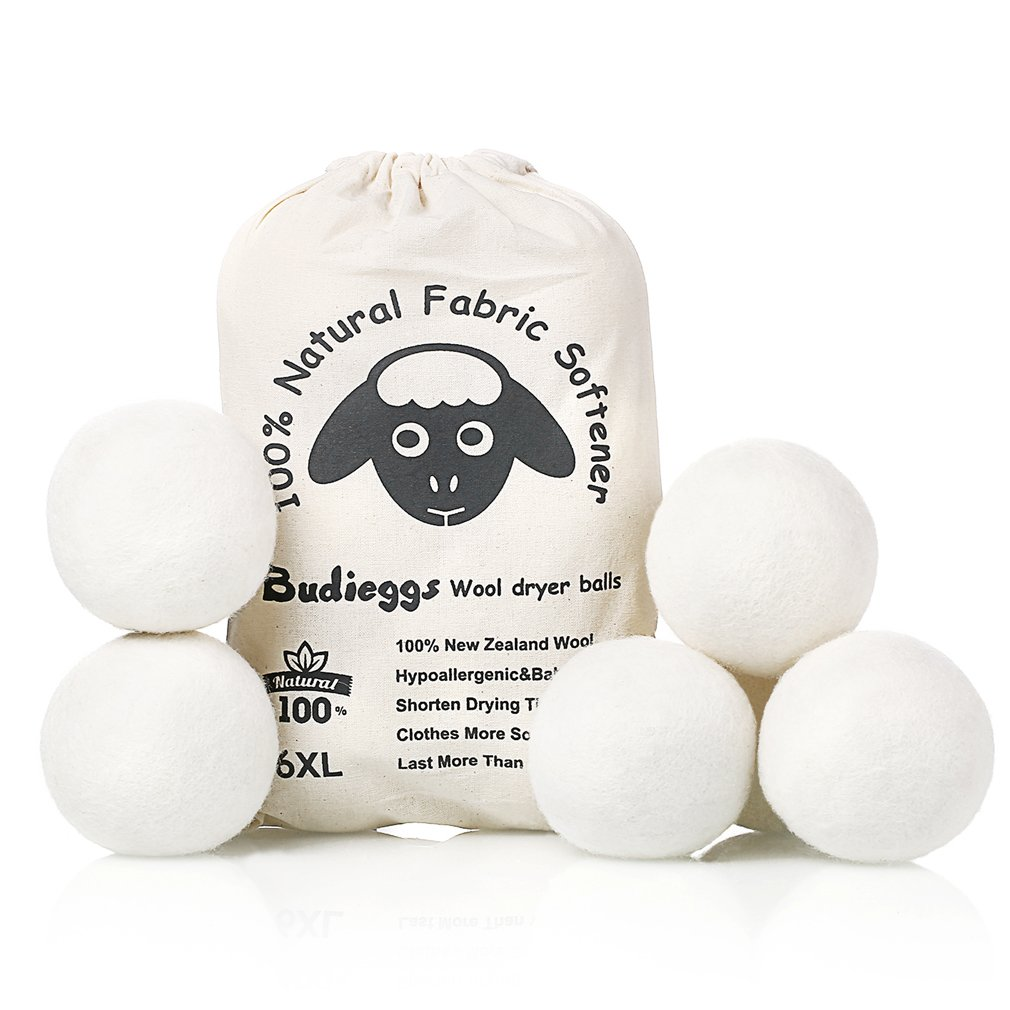 Budieggs Wool Dryer Balls Organic XL 6-Pack, 100% New Zealand Chemical Free Fabric Softener for 1000+ Loads, Baby Safe & Hypoallergenic, Reduce Wrinkles & (affiliate link)