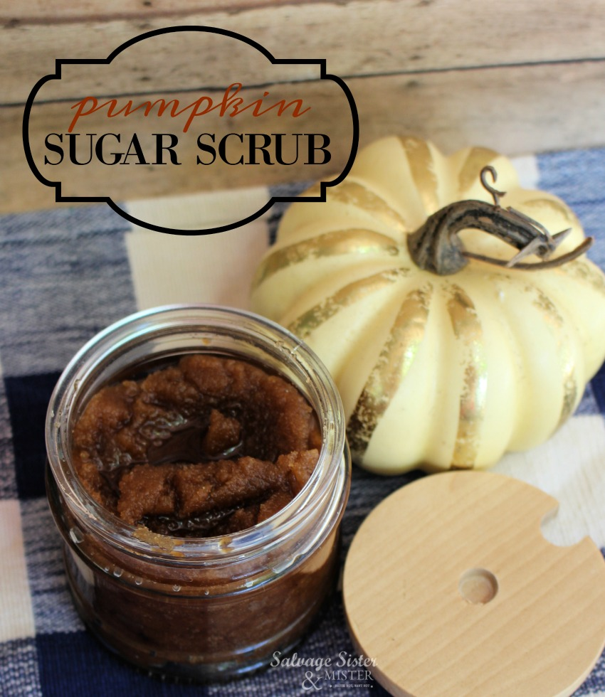 how to make your own fall insired pumpkin sugar scrub. Great for a gift or to pamper yourself. You can make it in three easy steps. Find this scrub recipe on salvagesisterandmister.com