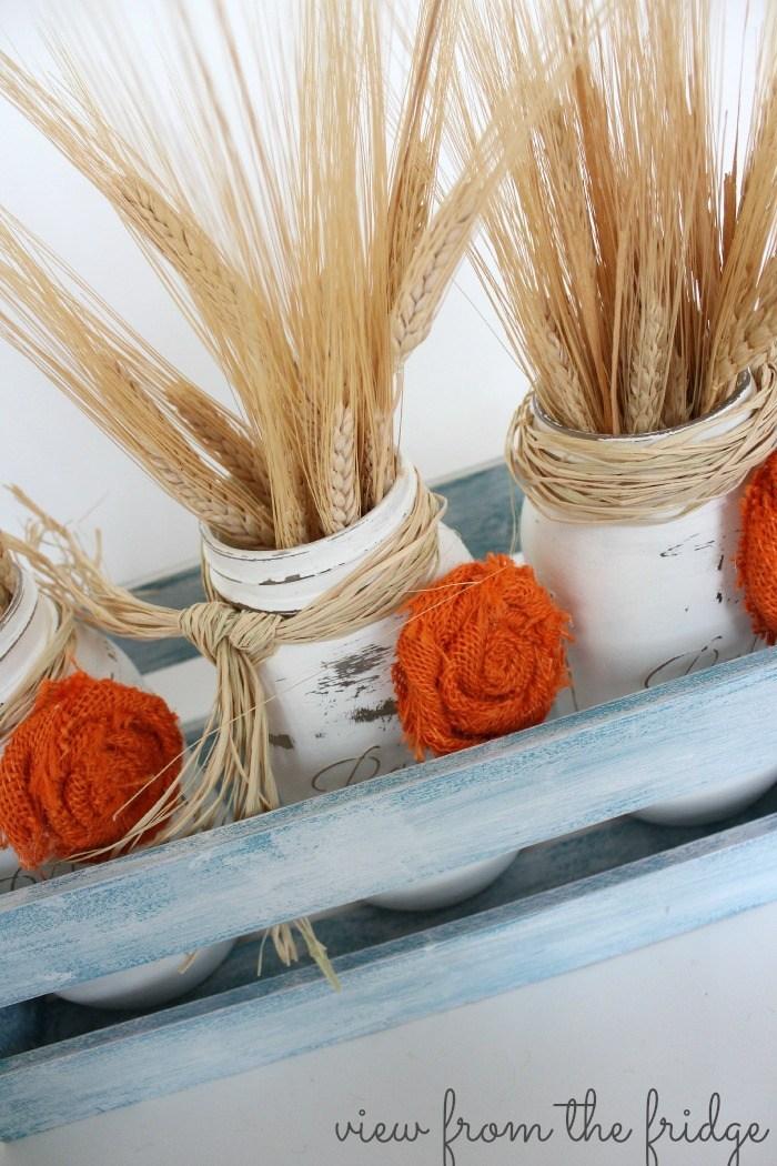 fall wheat mason jar centerpiece