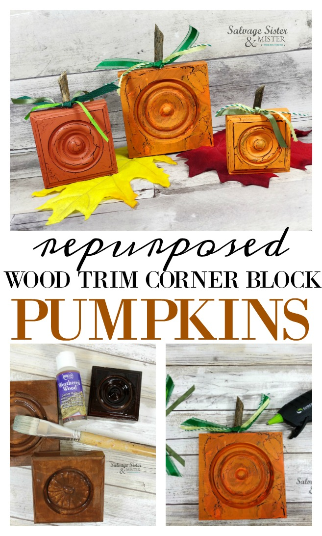 upcycle fall craft. Turn old or new wooden rosette pieces into pumpkins. This diy project is a great way to use up leftover pieces and use them for budget friendly fall home decor. Easy craft project. and a great way to reuse items. These vintage-inspired pumpkins are great for your fall decorating and won't take up a bunch of room in storage since they are small and flat. Come check out the tutorial on salvagesisterandmister.com