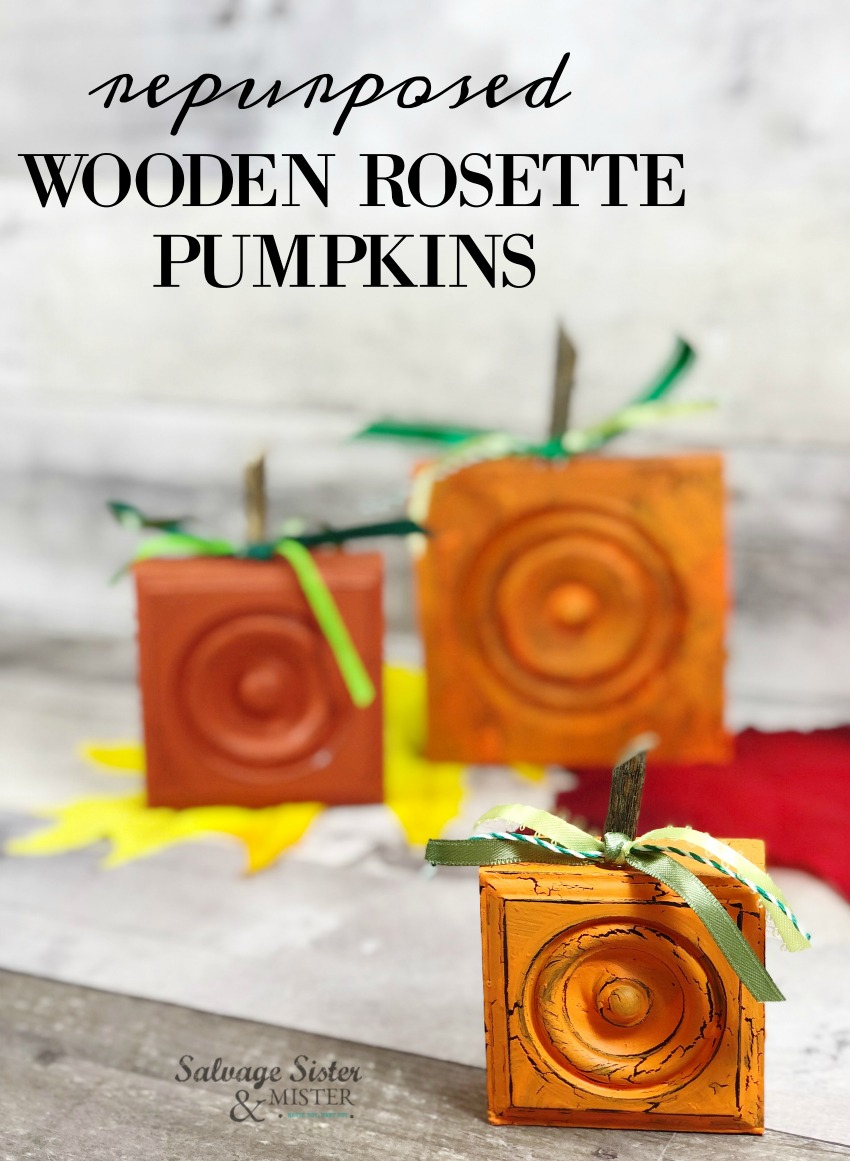 repurposed wooden rosette pumpkins (fall craft) turn wood trim molding pieces into these fun pumpkins on salvagesisterandmister.com