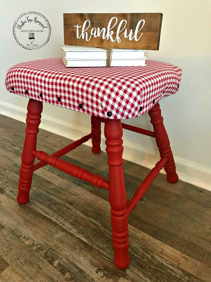 Taking a discarded chair and turning it into an upcycled chair stool seat. This is a great way to reuse an item once destined for the dumpster (trash). Find the full tutorial for this DIY project on salvagesisterandmister.com