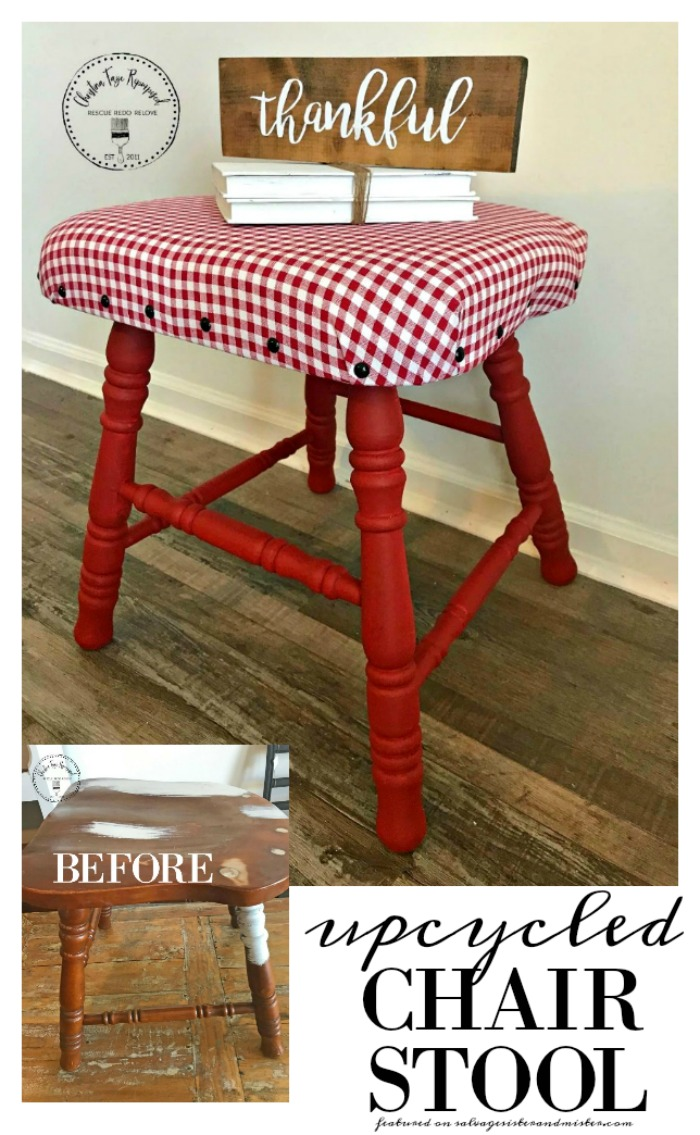 Wait, was that a piece of furniture on the side of the road? Turning an old piece of discarded furniture into something new again and useful. This upcycled chair stool seat is perfect for farmhouse decor and for a little kids stool as well. A great reuse project. Waste not, want not. Featured on salvagesisterandmister.com